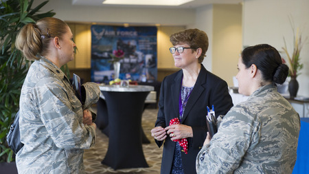 General Janet Wolfenbarger (Retired) speaking with Patrick AFB officers